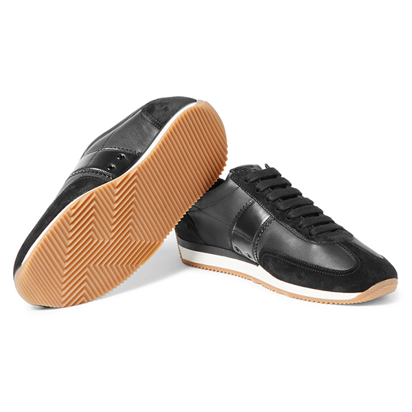 Black Leather Low Top Sneakers (2)