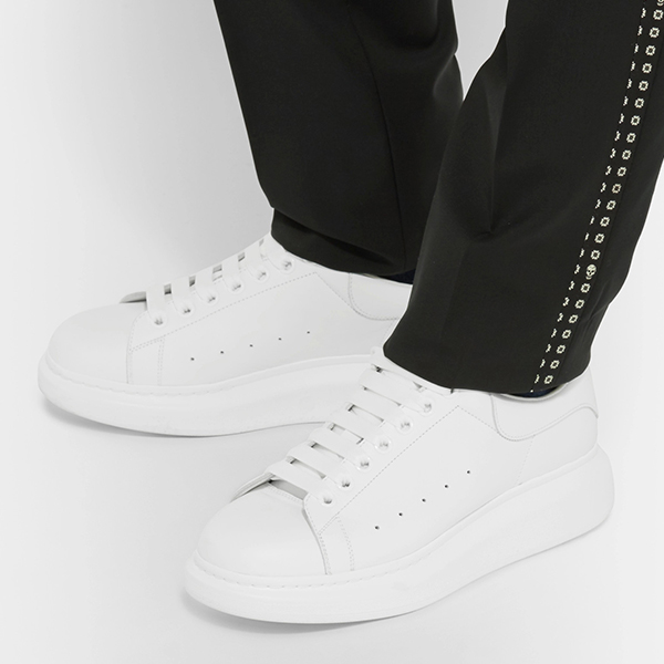 White Leather Low Top Sneakers (2)