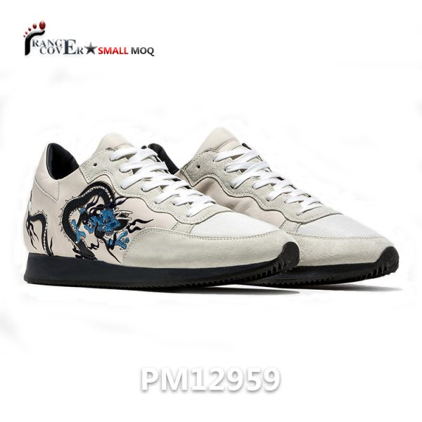 Genuine Leather Shoes Luxury Dragon Embroidery Sneakers For Men