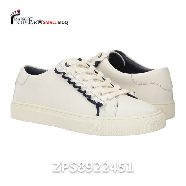 Minimalist Style Ruffle Trim Leather Female Woman's Fashion Sneakers