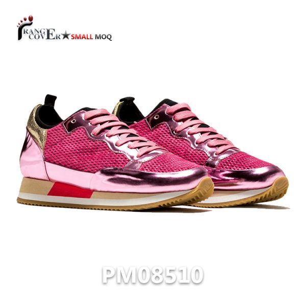 Metallic Pink Women Sneakers Breathable Grid Mesh Shoes