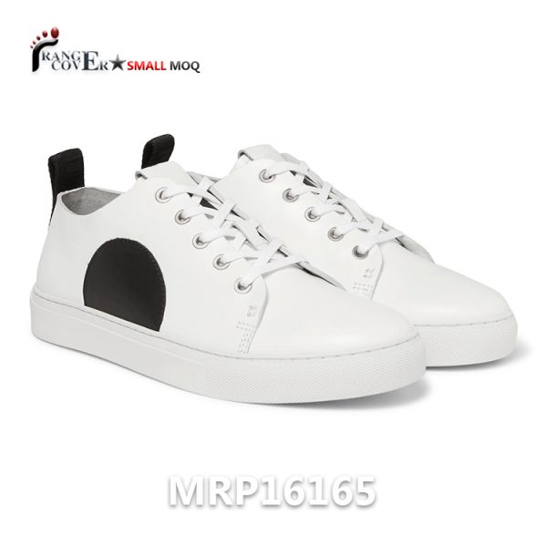New Design Custom White Shoes is made by white genuine leather. Black Semicircular Decoration. White lace in cotton. White rubber soles with stitching. All details we can make customized or we can make your design.