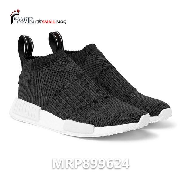 Black Breathable Flyknit Men Custom Logo Running Sneakers