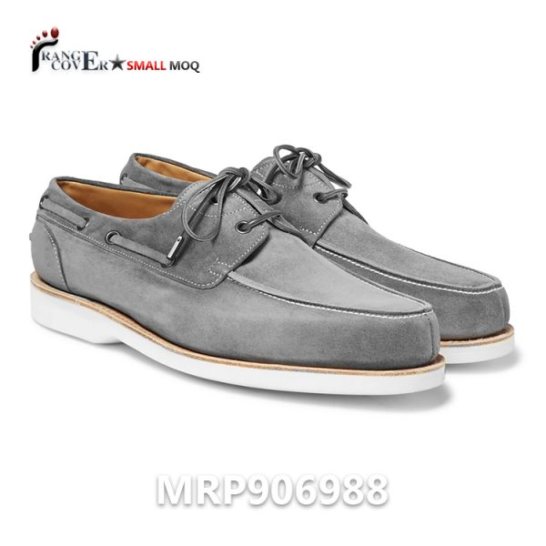 Hot Sell 2 Eyes Mens Suede Leather Boat Sailing Shoes Grey