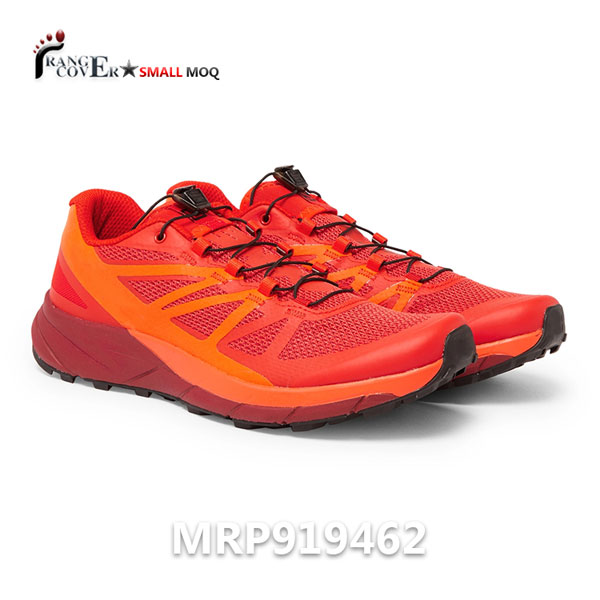 Custom Design Mesh Running Shoes made by Red Mesh, Seamless around upper in orange. Gripped rubber soles. Lace up. Customized logo on tounge.We can make any customized.