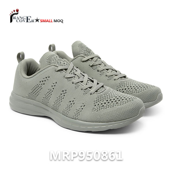 Breathable Footwear Grey Color Men Flyknit Athletic Shoes