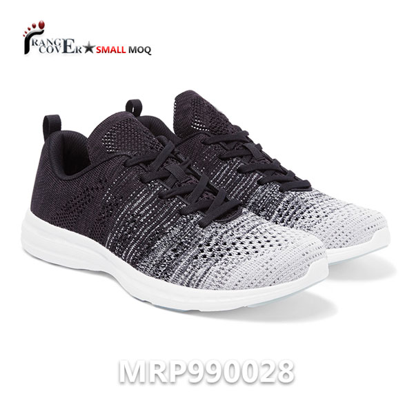 Grey And Black Flyknit Mesh Breathable Custom Running Sneakers