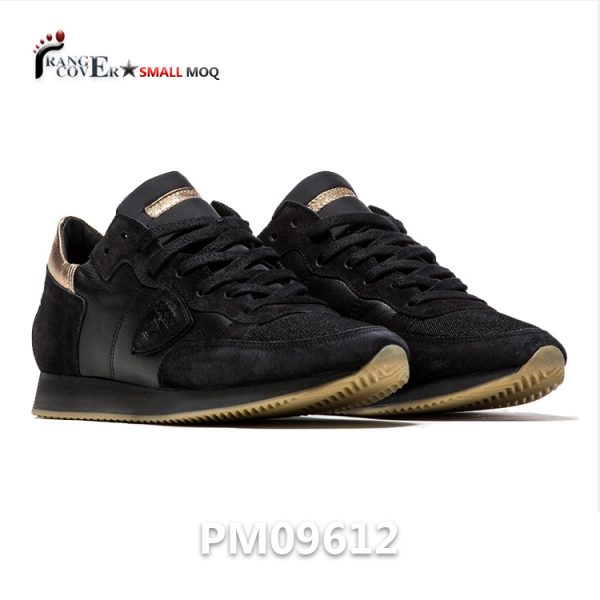 Hot Sell Italian Style Female Shoes Black Gold Leather Sneaker