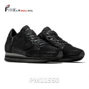 Custom Brand Black Glitter Leather Women Sneakers