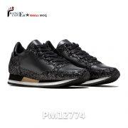 Italian Style Black Glitter Leather Women Sneakers