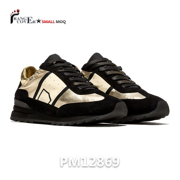 Italian Design Sneakers Black Gold Women Casual Shoes